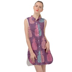 Pineapple Wallpaper Pattern 1462307008mhe Sleeveless Shirt Dress