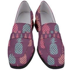 Pineapple Wallpaper Pattern 1462307008mhe Women s Chunky Heel Loafers