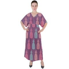 Pineapple Wallpaper Pattern 1462307008mhe V Neck Boho Style Maxi Dress