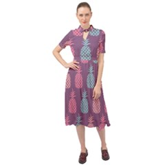 Pineapple Wallpaper Pattern 1462307008mhe Keyhole Neckline Chiffon Dress