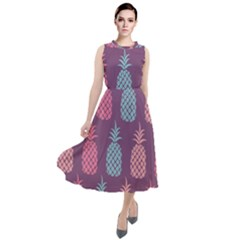 Pineapple Wallpaper Pattern 1462307008mhe Round Neck Boho Dress