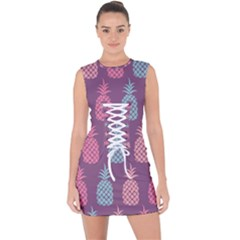 Pineapple Wallpaper Pattern 1462307008mhe Lace Up Front Bodycon Dress