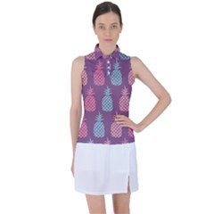 Pineapple Wallpaper Pattern 1462307008mhe Women s Sleeveless Polo Tee