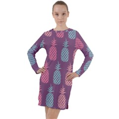 Pineapple Wallpaper Pattern 1462307008mhe Long Sleeve Hoodie Dress