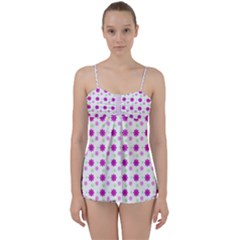 Background Flowers Multicolor Purple Babydoll Tankini Set by HermanTelo