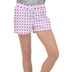 Background Flowers Multicolor Purple Women s Velour Lounge Shorts