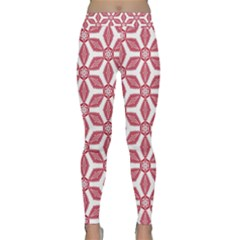 White Red Flowers Texture Classic Yoga Leggings