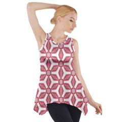 White Red Flowers Texture Side Drop Tank Tunic
