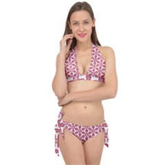 White Red Flowers Texture Tie It Up Bikini Set by HermanTelo