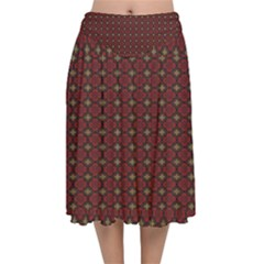 Df Victoria Cadenti Velvet Flared Midi Skirt by deformigo