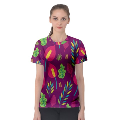 Tropical Flowers On Deep Magenta Women s Sport Mesh Tee by mccallacoulture