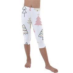 Christmas Pattern Kids  Lightweight Velour Capri Leggings