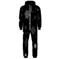 Christmas Snowflake Seamless Pattern With Tiled Falling Snow Hooded Jumpsuit (men)