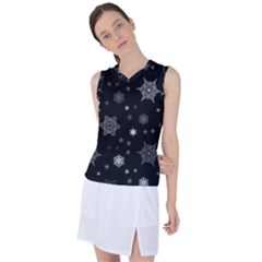 Christmas Snowflake Seamless Pattern With Tiled Falling Snow Women s Sleeveless Sports Top