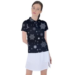Christmas Snowflake Seamless Pattern With Tiled Falling Snow Women s Polo Tee