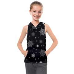 Christmas Snowflake Seamless Pattern With Tiled Falling Snow Kids  Sleeveless Hoodie