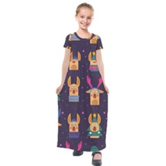 Funny Christmas Pattern With Reindeers Kids  Short Sleeve Maxi Dress