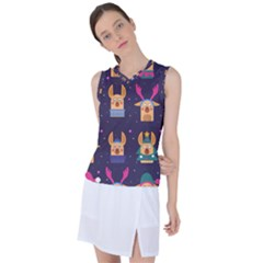 Funny Christmas Pattern With Reindeers Women s Sleeveless Sports Top