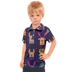 Funny Christmas Pattern With Reindeers Kids  Polo Tee