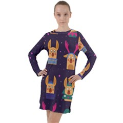Funny Christmas Pattern With Reindeers Long Sleeve Hoodie Dress