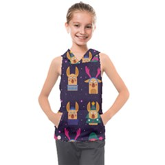 Funny Christmas Pattern With Reindeers Kids  Sleeveless Hoodie by Vaneshart