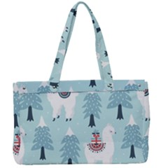 Christmas Tree Cute Lama With Gift Boxes Seamless Pattern Canvas Work Bag by Vaneshart