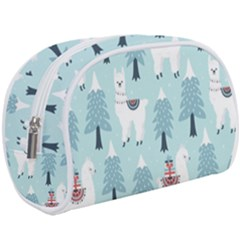 Christmas Tree Cute Lama With Gift Boxes Seamless Pattern Makeup Case (large) by Vaneshart