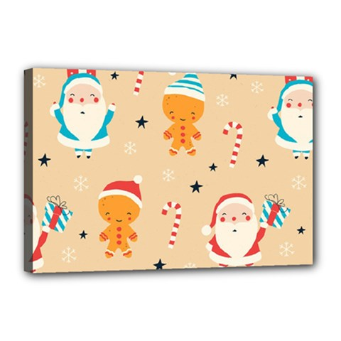 Funny Christmas Pattern Background Canvas 18  X 12  (stretched)
