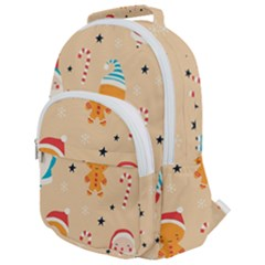 Funny Christmas Pattern Background Rounded Multi Pocket Backpack