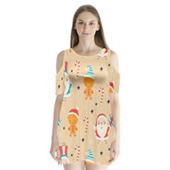 Funny Christmas Pattern Background Shoulder Cutout Velvet One Piece