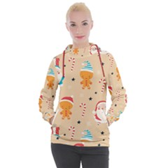 Funny Christmas Pattern Background Women s Hooded Pullover