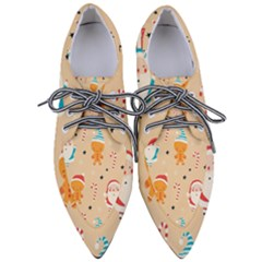 Funny Christmas Pattern Background Women s Pointed Oxford Shoes