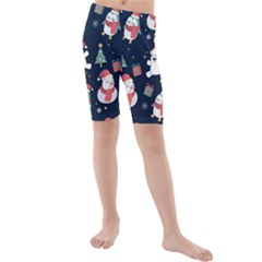 Colourful Funny Christmas Pattern Kids  Mid Length Swim Shorts