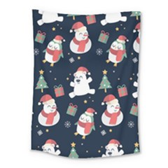 Colourful Funny Christmas Pattern Medium Tapestry