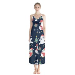 Colourful Funny Christmas Pattern Button Up Chiffon Maxi Dress