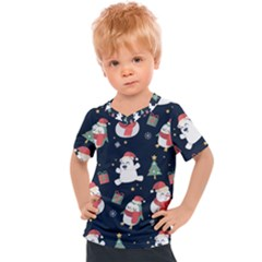 Colourful Funny Christmas Pattern Kids  Sports Tee