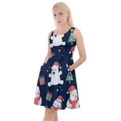 Colourful Funny Christmas Pattern Knee Length Skater Dress With Pockets