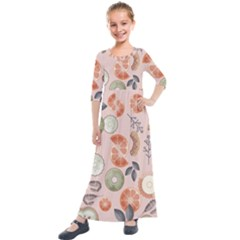 Hygge Seamless Pattern Kids  Quarter Sleeve Maxi Dress by Vaneshart