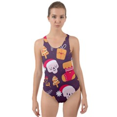Pattern Christmas Funny Cut Out Back One Piece Swimsuit