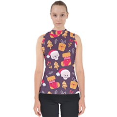 Pattern Christmas Funny Mock Neck Shell Top
