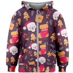 Pattern Christmas Funny Kids  Zipper Hoodie Without Drawstring by Vaneshart