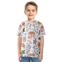 Colorful Seamless Pattern With Traditional Winter Elements Christmas Hygge Style Kids  Sport Mesh Tee