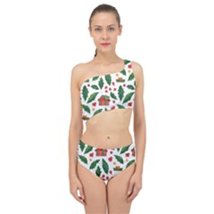 Christmas Seamless Pattern With Holly Red Gift Box Spliced Up Two Piece Swimsuit by Vaneshart