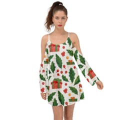 Christmas Seamless Pattern With Holly Red Gift Box Kimono Sleeves Boho Dress by Vaneshart