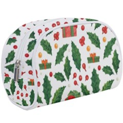 Christmas Seamless Pattern With Holly Red Gift Box Makeup Case (large) by Vaneshart
