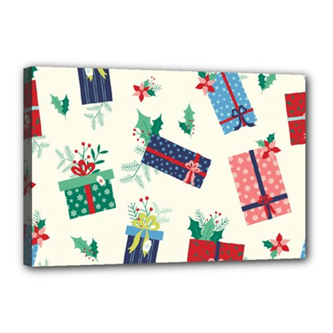 Christmas Gifts Pattern With Flowers Leaves Canvas 18  X 12  (stretched)