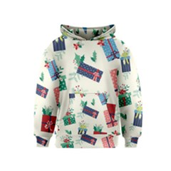 Christmas Gifts Pattern With Flowers Leaves Kids  Pullover Hoodie