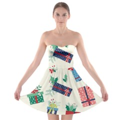 Christmas Gifts Pattern With Flowers Leaves Strapless Bra Top Dress