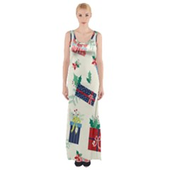 Christmas Gifts Pattern With Flowers Leaves Thigh Split Maxi Dress