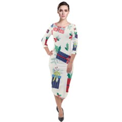 Christmas Gifts Pattern With Flowers Leaves Quarter Sleeve Midi Velour Bodycon Dress